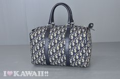 Authentic Christian Dior Beige Trotter Canvas / Navy Leather Hand Bag