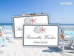 Printable escort card wedding place cards template Navy by Oxee, $5.00