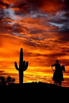 Wild Wild West ~ Arizona Sunset, Saguaro, Cowboy on a horse. oh how I miss Tucson! Arizona is so beautiful Beautiful Sunset, Beautiful World, Ranch Vacations, Cowboy Art, Cowboy Horse, Le Far West, Western Art, New Age, National Parks