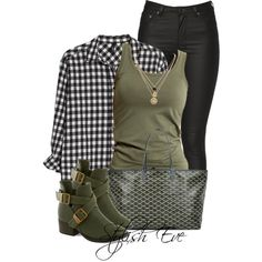 Black gingham, army green, and black denim or leggings.  Found on #Polyvore