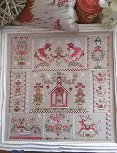 Christmas in Quilt cross stitch pattern by Cuore e Batticuore at cottageneedle.com December Winter holidays angels church ornaments reindeer by thecottageneedle
