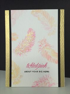 Feminine congratulations card made with Papertry Ink's Feather Finery stamp set.