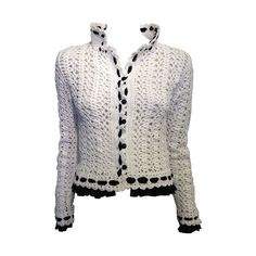 Chanel White Crochet Jacket with Black Chiffon Trim