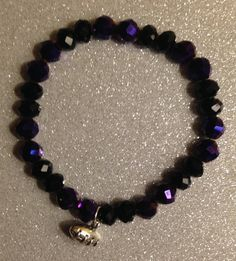Crystal Purple & Black Beads w/Silver Football