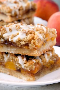 Peach Crumb Bars are topped with a sweet brown sugar crumble. Nothing could be…