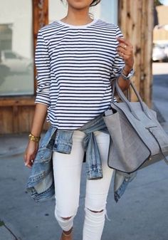 Stripes are always the perfect pairing for denim but this season update your white denim with distressing. www.stylestaples.com.au