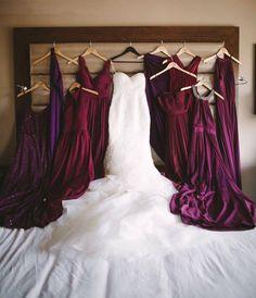 Mix match burgundy and plum bridesmaid dresses Jewel Tone Bridesmaid, Jewel Tone Wedding, Red Bridesmaids, Burgundy Bridesmaid Dresses, Wedding Bridesmaid Dresses, Burgundy Wedding, Purple Wedding, Wedding Colors, Wedding Ideas