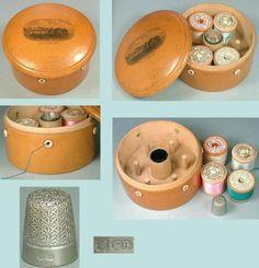 Antique-Mauchline-Ware-Thread-Spool-Box-amp-Thimble-Holder-Pier-Llandudno-C1890