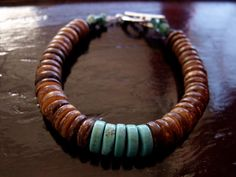Mens bracelet Coconut Shell and Turquoise by borderlandsJEWELRY, $26.00