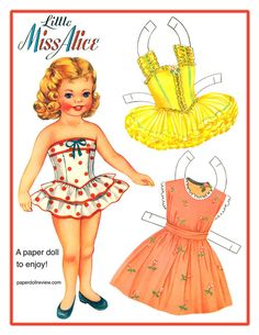 Little Miss Alice Free Paper Doll to print from PaperdollReview.com  Please visit them for more information on this Vintage Paper Doll and others.