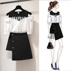 Women Summer Strapless O-neck Letter Print Short Sleeve Blouse + Tunic High Waist Wrap Skirt Two Piece Dress Set Fashion Drawing Dresses, Fashion Illustration Dresses, Fashion Dresses, Cute Casual Outfits, Pretty Outfits, Stylish Outfits, Teen Fashion Outfits, Girl Fashion, Mode Kpop