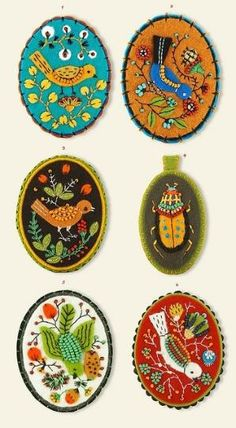 "Back Russian mini-painings with textile/felt ""frame"".  felt, beads. by Miss Dorrit"