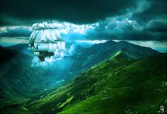 Sky Ship. In the background you can see our beautiful polish mountines.  #photomanipulation #digital #art
