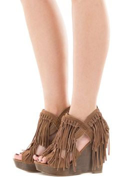 215ce678e Lime Lush Boutique - Tan Suede Platform Wedge Heel with Fringe Detail