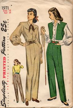 Simplicity 1971 1940s Misses Katherine Hepbun Style Slacks Western Blouse and Vest womens vintage sewing pattern by mbchills