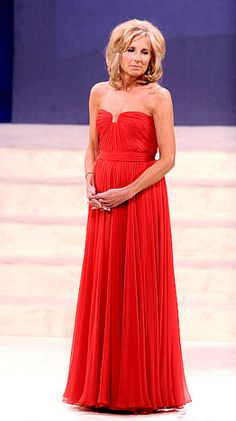 "Jill Biden: ""Wearing Reem Acra at the Neighborhood Inaugural Ball."""