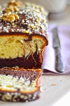 Plumcake marbled with greek yogurt, frosted chocolate Quick Bread Recipes, Baking Recipes, Sweet Recipes, Brownie Recipes, Cake Recipes, Dessert Recipes, Non Chocolate Desserts, Torte Cake, Savarin