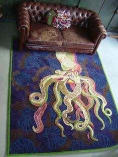 The focal point here is the rug, where the long octopus legs extend the eyes across the floor, creating space.