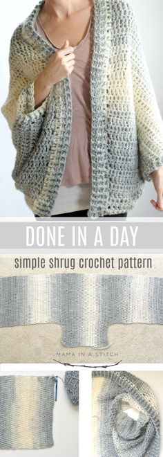 The fastest, easiest shrug crochet project ever! So simple and quick with pictur. - Crochet and Knitting Patterns Sie Poncho einfach The fastest, easiest shrug crochet project ever! So simple and quick with pictur. - Crochet and Knitting Patterns Cardigan Au Crochet, Crochet Shawl, Crochet Stitches, Knit Crochet, Crochet Sweaters, Crochet Shrug Pattern Free, Pattern Sewing, Crochet Shrugs, Wrap Pattern