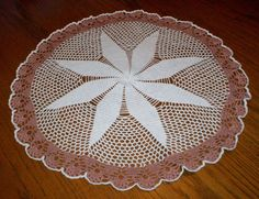 """Large Vintage Hand Crocheted Lace Doily 23"""" Diameter Estate Item White Brick SEE"""