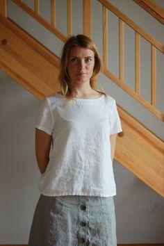Kurzarmblusen - Linen Frauen Hemd / Bluse, Leinen oben / T-Shirt - ein Designerstück von Maliposhaclothes bei DaWanda