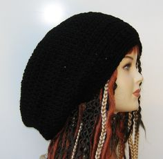 Black Wide Crown Slouchy large Tam Dreadlock Hippie Beanie Dread Hat