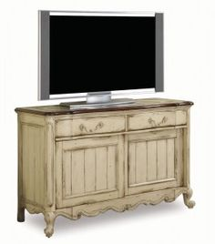 Create A Charming Entertainment Nook In Your Living Room Or Den With This French Inspired Media Console Showcasing 3 Drawers 2 Mesh Doors And Sc