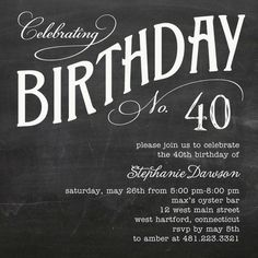 Charming Chalk - Adult Birthday Party Invitations in Milk | Fine Moments