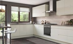 Modern, Contemporary, Strada Gloss Kitchen, in Porcelain Cream Kitchen Cabinets, Handleless Kitchen, Gloss Kitchen, Big Kitchen, Kitchen Units, Wooden Kitchen, Stylish Kitchen, Bespoke Kitchens, Modern Kitchens