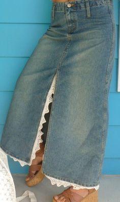 Items similar to Denim Skirt Repurposed/Upcycled Vintage Crochet Lace Skirt Prairie Farmgirl Boho Goth on Etsy Artisanats Denim, Denim And Lace, Denim Skirts, Boho Skirts, Sewing Clothes, Diy Clothes, Denim Fashion, Skirt Fashion, Diy Old Jeans