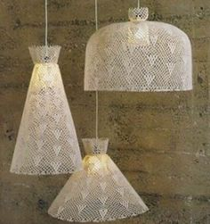 Pendant light suits for decorative flair for your home and garden. Although pendant light looks like. There are some methods in hanging the pendant light. Crochet Lampshade, Crochet Fabric, Diy Crochet, Crochet Crafts, Crocheted Lace, Lace Lampshade, Crochet Doilies, Crochet Designs, Crochet Patterns