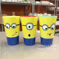 Minion Mugs! Painted Pottery, Paint Your Own Pottery, Pottery Painting, Ceramic Painting, Pottery Place, Pottery Shop, Pottery Studio, Minions, Firefly Art