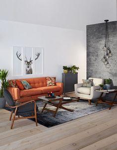 Monochrome interior with that lush orange sofa and those geometric pendants! Living Room Sofa Design, Home Living Room, Living Room Designs, Living Room Furniture, Décoration Mid Century, Mid Century Decor, Burnt Orange Living Room Decor, Interior Exterior, Interior Design