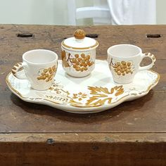 Servizio tete a tete con vassoio e zuccheriera decorazione stampe romagnole