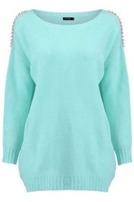 Shop Gold-tone Riveted Mint Jumper at ROMWE, discover more fashion styles online. Jumper, Womens Fashion, Sweaters, Shopping, Clothes, Design, Style, Outfits, Swag