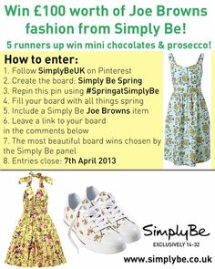 Leave a link to your #SpringatSimplyBe board in the comments here below! For t's and c's see our blog simplybeblog.co.uk #competition #repintowin