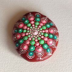 Mandala Painted Stone - Red Adriatic - Gift - Decoration - Painted rock Art…