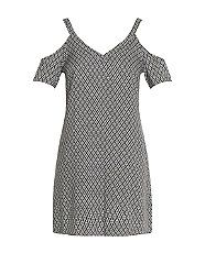 Black Geo Print V Neck Cold Shoulder Tunic Dress  | New Look