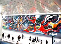 Okamoto mural in Shibuya Station