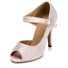 ZEKAEN Women's Crystal Flared Heel Latin Dance Ballroom Tango Salsa Peep Toe Sandals ^^ Discover this special product, click the image : Outdoor sandals