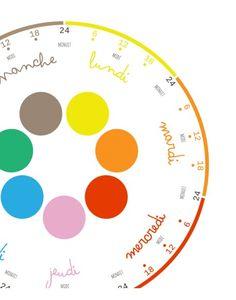 Horloge Semaine - une superbe idée en plus jolie #weekclock #cute #clock #horloge #enfant
