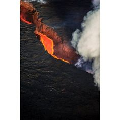 Volcano Eruption at the Holuhraun Fissure near the Bardarbunga Volcano Iceland Canvas Art - Panoramic Images (27 x 9)