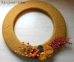 DIY Yarn Wrapped Fall Wreath Tutorial | My Girlish Whims