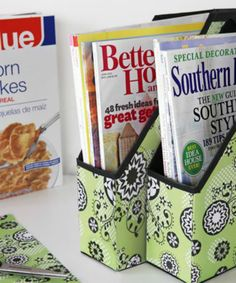 Don't throw away that empty cereal box! Upcycle it into a stylish cereal box organizer for magazines that matches your décor. - Everyday Dishes & DIY