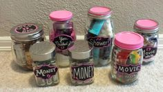 For Arabella's baby shower. Coed prizes for baby shower games. Gift in a jar. Do it yourself. Made by one proud auntie. For coed baby shower.