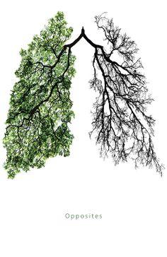 Pulmón sano vs. pulmón fumador (simbología natural de Chris Albarano y Mikhail Abramov)