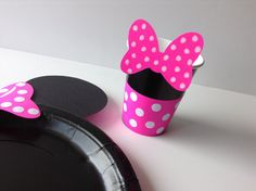 Minnie Mouse Birthday Party Cups pink polka dot by AlishaKayDesigns