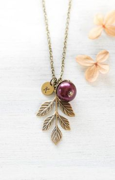 Personalized Acorn Pendant Brass Leaf Necklace Light Peach Blush Pearl Initial Necklace Bridesmaid Gift Gift for mom Personalized Jewelry Acorn Necklace, Branch Necklace, Leaf Necklace, Initial Necklace, Pendant Necklace, Personalized Bridesmaid Gifts, Personalized Christmas Gifts, Personalized Necklace, Fall Jewelry