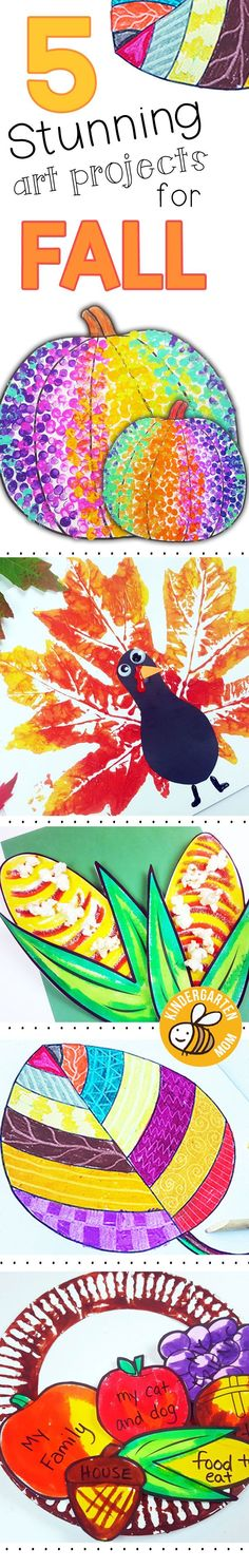 Fall Art Projects for Kindergarten!! Full photo tutorials, printable templates and super easy for little hands to make these stunning art projects. Fall Leaf Turkey, PopCorn on the Cob, Autumn Leaf Art, Cornucopia of Thanks, Polka Dot Pumpkins.