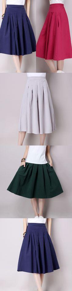2017 Vintage Summer Long Skirt Women New Design Japanese Mori Girl Big Swing Casual Natural Waist Linen Skirts Plus Size Pleated